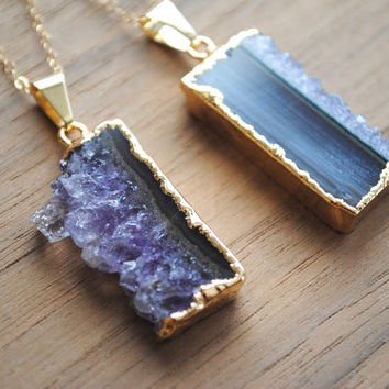"Amethyst Slice Necklace - Raw Gemstone Pendant - Gold Plated on 18"" 14K Gold Filled Chain, Purple Stone Gold Edged Necklace"