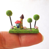 Miniature Whimsical Fairy House in Woods OOAK by C. Rohal