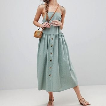 ASOS TALL Midi Button Through Sundress at asos.com