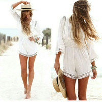 Women Romantic  Bohemia Style Lace Half Sleeve Hollow Out One Piece Beach Romper Play Suit