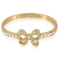 Betsey Johnson Bracelet, Antique Gold Tone Crystal Bow Hinge Bangle Bracelet - Fashion Jewelry - Jewelry & Watches - Macy's