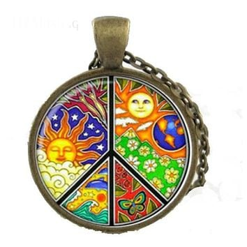 Women Sign Peace Solar Totem Hippie pendant Necklace