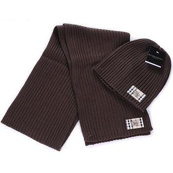 Burberry autumn and winter models men and women wool hat scarf two-piece F-AJIN-BCYJSH Coffee