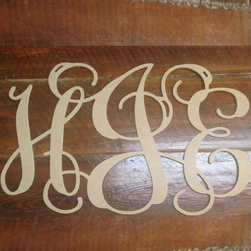 Gentil Wood Monogram Initials, Wall Decor, Hanging Wooden Wall Letters, Wedding, Home  Decor