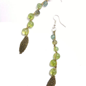 Macrame earrings made with wax cord, green dragon veins agate beads and sterling silver earring hocks