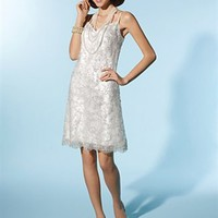 A-line V-neck Knee-length Lace Bridesmaid Dress SAL0204