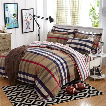 British Style Brand Logo Yellow Plaid Stripes Bedding Set Famous Bed Linen Bedclothes 3-4pcs Duvet Cover Bed Sheet Pillow Cases