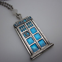 TARDIS Necklace Doctor Who Blue Police Call Box by lovespelljewels