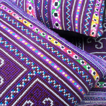 Boho Pillows Colorful Embroidered Purple Hmong Pillow Cover 16 inch