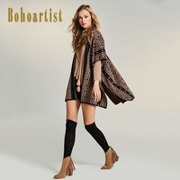 Ladies Cape Geometric Print Straps Tassel Bohemia Half Sleeve Clothing New Women Brown Block Loose Capes