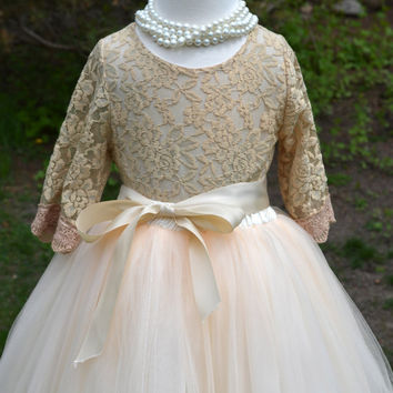Ivory Flower girl Tutu dress, Girls Champagne Long Tulle Skirt lace blouse, Ivory lace Skirt blouse set , Girls Tutu, Flower girl dress