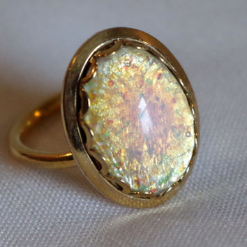 Sarah Coventry Fire Opal Ring- Goldtone Vintage Costume Jewelry- Fun Cocktail Bling- Trendy 1960's Adjustable Ring