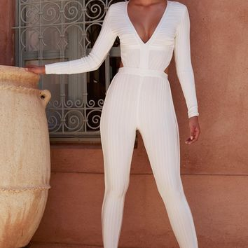 Arya White Plunge Neck Bodycon Jumpsuit