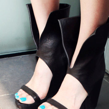 Leather Black New Summer Lace Up High Heels Sandals = 4777247172