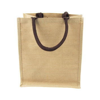 Burlap Jute Tote Bag with Brown Gusset Handle, 12-inch
