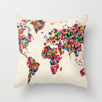 Butterflies Map of the World Map Throw Pillow by ArtPause