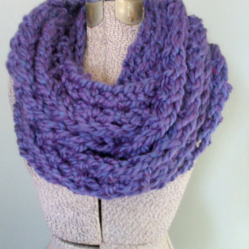 Purple Chunky Knit Infinity Scarf, Thick Wool Scarf, Knitted Winter Accessories