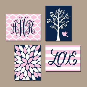 NAVY PINK Nursery Wall Art, Baby Girl Nursery Decor, Tree Bird, Monogram, Girl Bedroom Pictures, CANVAS or Print, Above Crib Decor, Set of 4