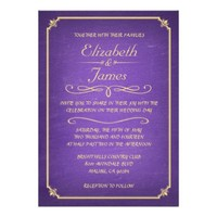 Purple and Gold Chalkboard Wedding Invitations