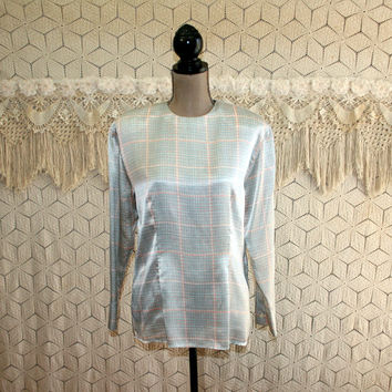 Vintage 80s Long Sleeve Satin Blouse Large Dressy Top Womens Plaid Houndstooth Pattern Seafoam Peach 1980s Vintage Clothing Womens Clothing