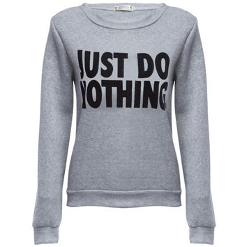 Casual Round Collar Letter Print Loose-Fitting Sweatshirt for Women