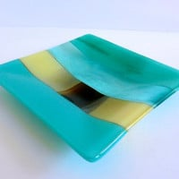 Glass Plate in Turquoise, Blue Green and French Vanilla