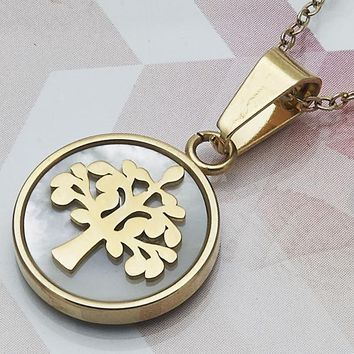 Stainless Steel Women Tree Fancy Pendant, with Ivory Mother of Pearl, by Folks Jewelry