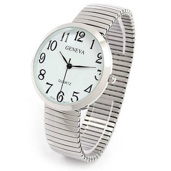 Silver Round Face Shiny Finish Stretch Band Women's Watch