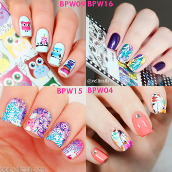 2 patterns/sheet BORN PRETTY Nail Water Decals Flower Leaf Animal Feather Designed Transfer Stickers Nail Art Sticker BP-W01-20
