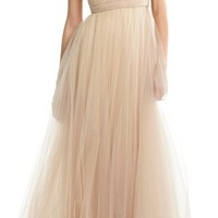 Cap Sleeves Tulle Prom Dress