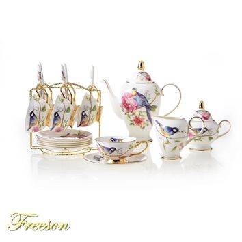 Europe Pastoral Bird Bone China Coffee Set Porcelain Tea Set Ceramic Mug Pot Sugar Bowl Creamer Teapot Teatime Party Coffee Cup
