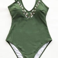 Cupshe Dreams Link Embroidery One-piece Swimsuit