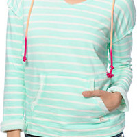 Billabong Stretch Out Mint & Cream Stripe Pullover Hoodie