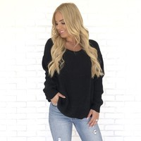Give It A Twist Knit Sweater in Black
