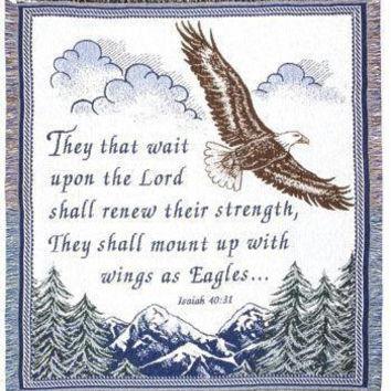 "Isaiah 40:31 Afghan -  "" They That Wait Upon The Lord Shall Renew Their Strength, They Shall Mount Up With Wings As Eagles... """
