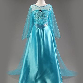 New Elsa dress long sleeve girl costume snow white party dress Anna girls clothes vestidos infantis Congelados disfraz princesa