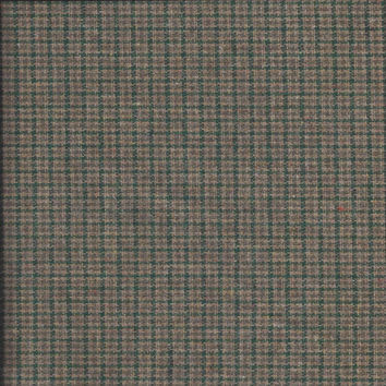 2 Yard Cut of 1980s Vintage Wool Acetate Blend Fabric in Green Plaid Houndstooth, 60 In. Wide, Suit, Coat Fabric, Vintage Fabric, Home Sew