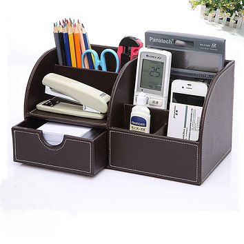 PU Leather Desk Organizer Pen Pencil Business Cards Remote Control Phone Cosmetics Holder Storage Box Home Office Supplies