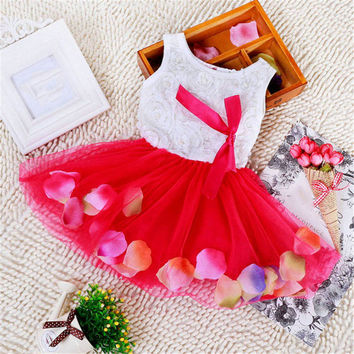 Toddler Baby Kid Girls Princess Party Tutu Lace Bow Flower Dress