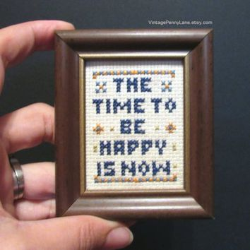 Vintage Mini Framed Inspirational Cross Stitch Art, Miniature Handmade Needlework Sign