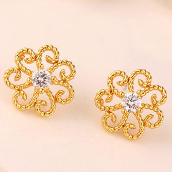 Korean Stylish Diamonds Floral 925 Silver Strong Character Earrings [7495273927]
