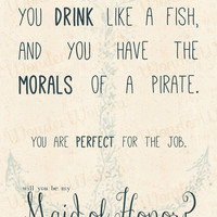 Curse Like A Sailor, Drink Like A Fish...Maid Of Honor Invitation-