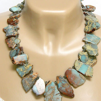 Blue and Brown African Opal Gemstone Necklace Handcrafted Short Statement Unique