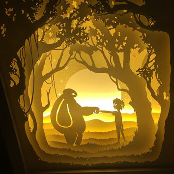 Baymax paper cut Light box Night light Accent Lamp birthday gift idea shadow box kids baby nursery  room decor Desk Lamp