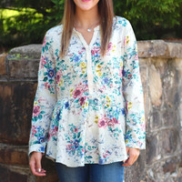 Florally Yours Fit & Flare Tunic Top {Sage}