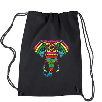 Aztec Color Elephant (Glows In The Dark) Drawstring Backpack