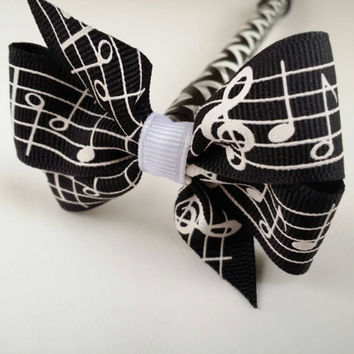Music Bow Pen, ribbon bow topped ink pen with washi tape, sheet music bow, black chevron tape, ballpoint, music teacher piano teacher gift