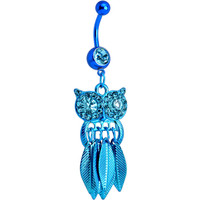Aqua Gem Blue Stainless Steel Astute Owl Dangle Belly Ring | Body Candy Body Jewelry