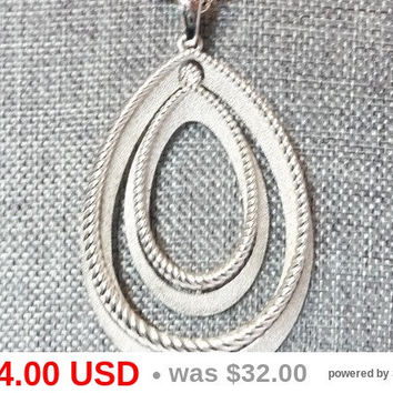 Crown Trifari Necklace - Large Double Tear Drop Pendant - Long Rope Style Chain - Brushed Silver - Rope Accent -