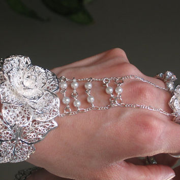 Bridal Flower pearl Slave Bracelet Ring by TheMysticalOasisGlow